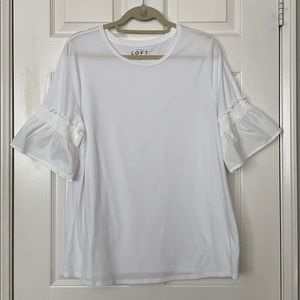 Loft White Cotton Tee with Ruffled Sleeves